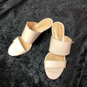 "Coach Cream sandals sz 5, 2"" heels"